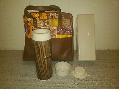 Vintage Thermos Tailgate Picnic Camping Lunch Set Ultra Rare Pattern 1960s MOD!
