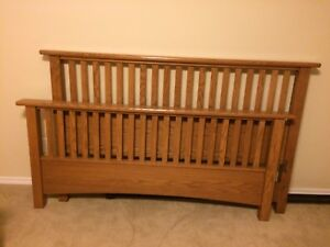 Queen wood bed frame, two night stands and armoire.