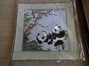 CHINESE SILK EMBRODERY OF 2 PANDA'S Pimpama Gold Coast North Preview