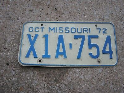 OCT 1972 ORIGINAL Vintage X1A 754 Missouri License Plate MO only one