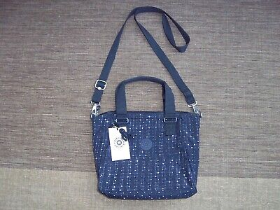 Kipling 'Amiel' blue tile print large handbag shoulder bag rubber monkey new