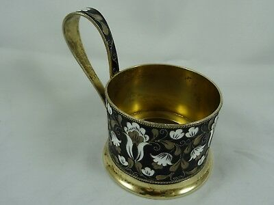 RUSSIAN solid silver & ENAMEL,  LEMON TEA GLASS HOLDER, c1960, 147gm