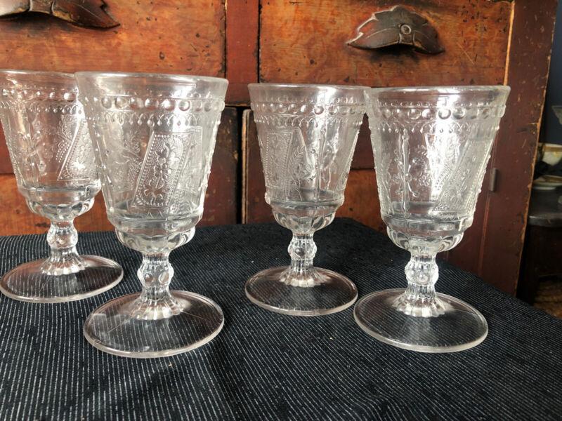 Set 4 c1881 Adams Prayer Rug Good Luck Horseshoe Water Goblets EAPG Glass