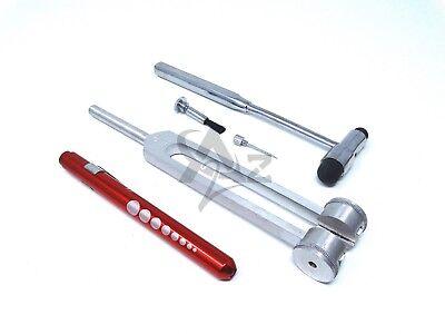 Set Of 3 Pcs Reflex Buck Percussion Hammer Red Penlight Tuning Fork C 128
