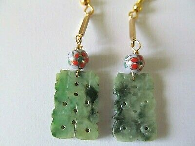 ANTIQUE CARVED GREEN JADE/JADEITE w/CHINESE PORCELAIN BEAD GOLD PIERCED EARRINGS