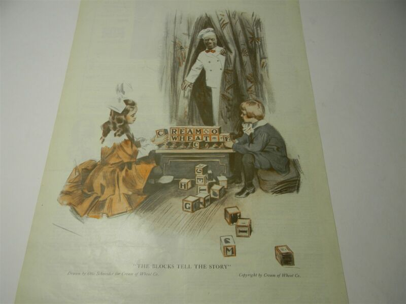 "Vintage 1918-1920 Cream of Wheat "" The Blocks Tell The Story "" Print Ad - 8E1"