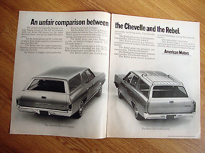 1968  AMC American Motors Ad  Rebel 550 Cross Country Wagon vs Chevelle Nomad
