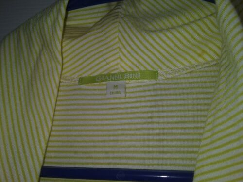 Gianni Bini Dress Medium Yellow And White Stripes Sleeveless Asymetrical Cut. - $0.99