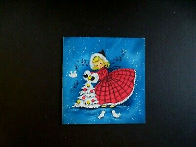Vintage Unused Hallmark Xmas Greeting Card Girl in Plaid Decorating Holiday Tree