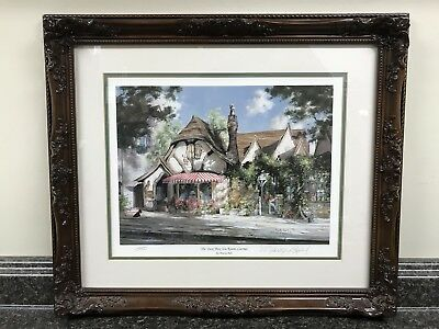 Tuck Box Tea Room - The Tuck Box Tea Room, Carmel By Marty Bell 1994 Signed Picture Frame w/Note