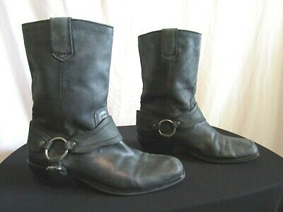 Zodiac Omni Black Leather Mid Calf Harness Motorcycle Riding Boots Women Sz 8M