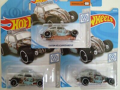 HOT WHEELS CUSTOM VOLKSWAGEN BEETLE RAT ROD LOT OF 3: 2018 ISSUE