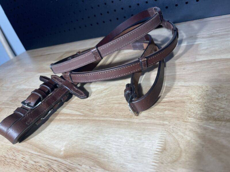 Leaders Plain Leather Rubber Lined Reins W/ Hand Stops ***High Quality***