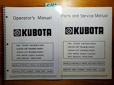 Kubota G2538 38 G2546 46 2 Stg Snowblower For G3200 G4200 G4200h G5200h Manual