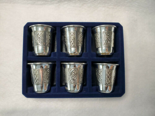 925 Sterling Silver Kiddish Cup  Made by Hadad Bros set of 6