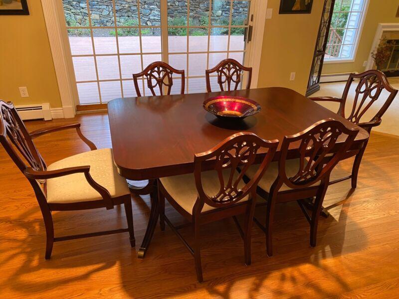 JB Van Sciver (since 1880) Vintage Antique Mahogany 9 Piece Dining Room Set