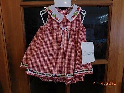 YOUNGLAND BABY GIRL DRESS 6-9 Mos LADYBUG EMBROIDERY APPLIQUE