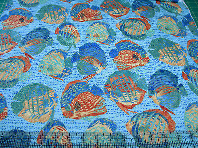 3 Yards Cotton Fabric - Northcott Shimmer Oasis Ocean Fish Swimming Blue Met