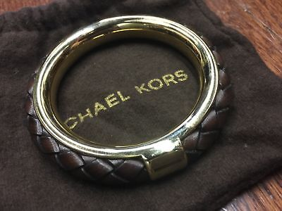 MICHAEL KORS COLLECTION Brown Leather Gold Bangle Bracelet COOL!