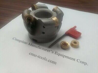"w 4 Sandvik RCKT1606 Round inserts CAT40 arbor #506-RCKT16-3 3/"" face mill R200"