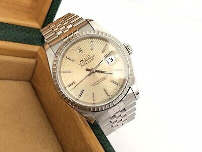 ROLEX Datejust TAPESTRY Gold Dial 16220 36mm AUTOMATIC Quick-set Date Men + Box