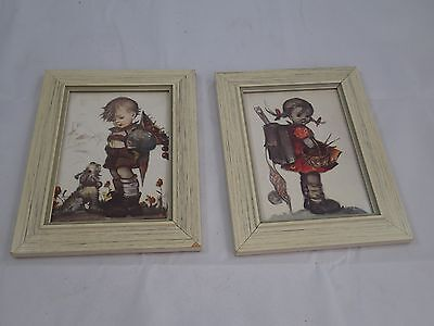 Pair 2 Vintage Hummel Picture Wall Hanging Boy with Dog Girl with sewing basket