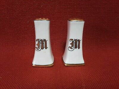 Hand Painted Gold China Salt and Pepper Shakers With Monogram