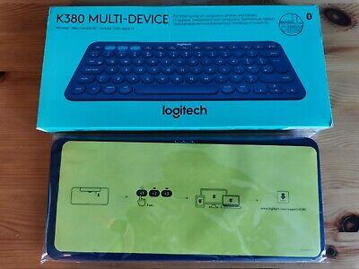 Logitech K380 Multi-Device Bluetooth Keyboard Windows Apple Linux (Blue)