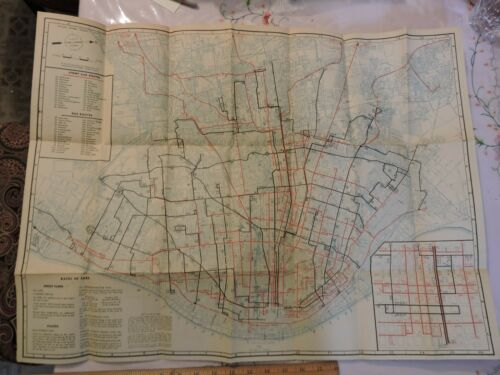 "Rare 1946 St Louis Public Service Co 20x28"" Trolley Transit Map Brochure"