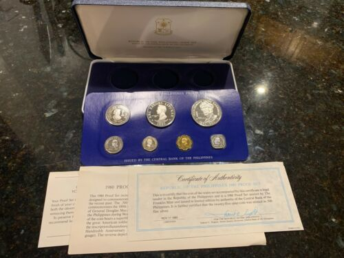 PHILIPPINES 1980 7-COIN PROOF SET COMPLETE WITH CERTIFICATE AND LITERATURE