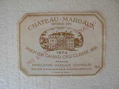 Etiquette Château Margaux 1974