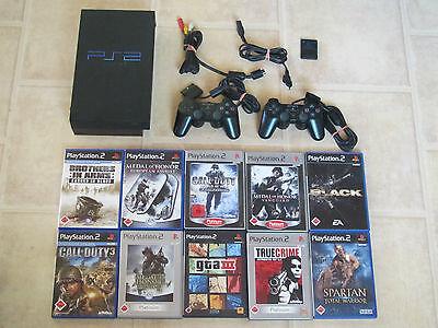 Playstation 2 Konsole komplett mit 10 Gratis Spiele + 2 Controller PS 2 (USK 18) (Ps2 Komplett Konsole)