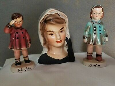 Enarco Porcelain Jackie Kennedy Head Vase With John John & Caroline Jackie Kennedy Collection