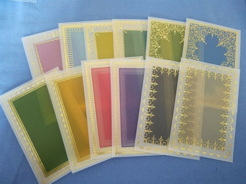 "Anna Griffin Foil Stamped Vellum Layers 12 - 4"" x 6"" Sheets Card Making"
