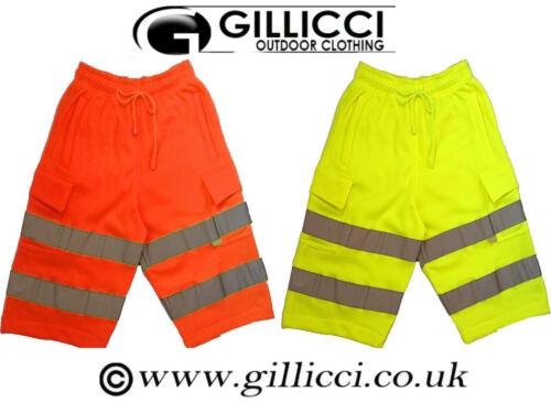 PPE HI HIGH VIZ VIS VISIBILITY WORK REFLECTIVE JOGGER JOGGING FLEECE SHORTS