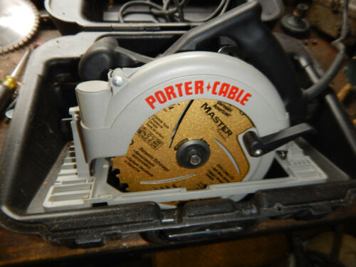 PORTER CABLE 743 LEFT HANDED CIRCULAR SAW W/ CASE AND BLADE WRENCH NEW BLADE