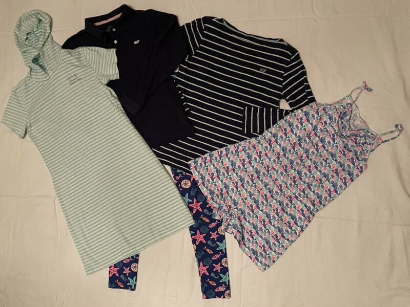 Vineyard Vines Girls Dress Coverup Shirts Romper Legging Pants Size 14 Lot Of 5