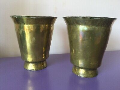 Beautiful Pair Large Antique Arts & Crafts Brass Planters.Plant Pots Jardiniere.