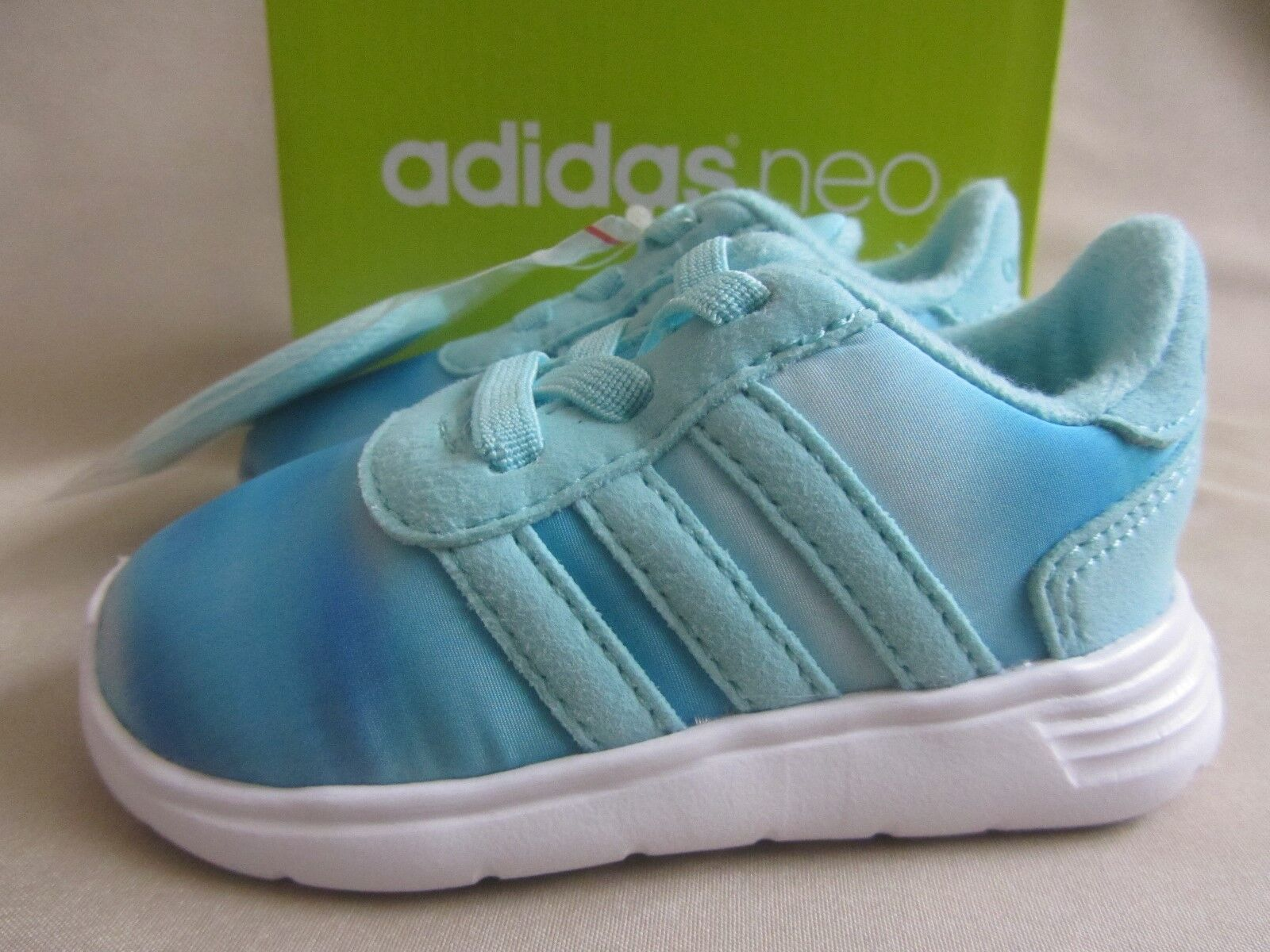 Adidas Lite Racer Sneakers Infant Girls Size 4 Aqua Blue New With Box