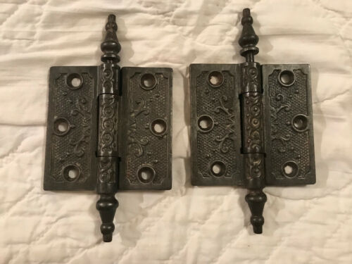 """Pair Matching 3 x 3"""" Cast Iron Victorian Steeple Top Hinges, No damage, Free S/H"""