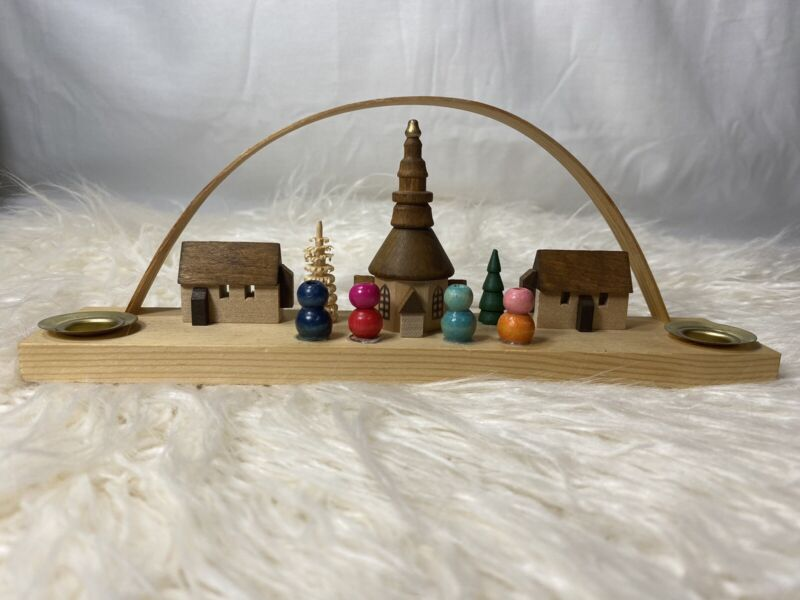 German Village Wooden Arch Double Candle Holder Handmade In Germany Christmas