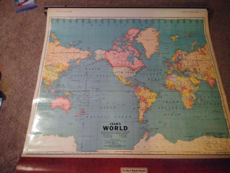 Vintage CRAM PULL DOWN SCHOOL MAPS WORLD