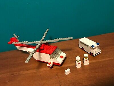 Vintage Lego 386 Helicopter and Ambulance with 2 Figures 1976