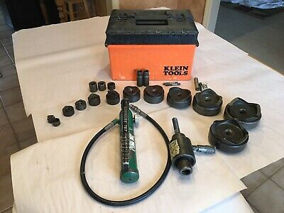 Greenlee Hydraulic Knockout Set 767-pump 746-ram 78 To 4 Punches Adapters