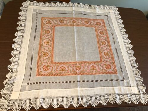 Antique French Art Nouveau PETIT POINT Hand Drawn Lace Tablecloth Throw Shawl
