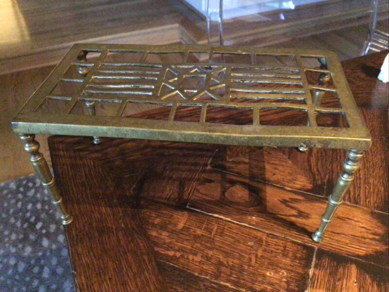 Antique 1800's Brass Legged TRIVET Footman * Colonial kitchen cooking culinary