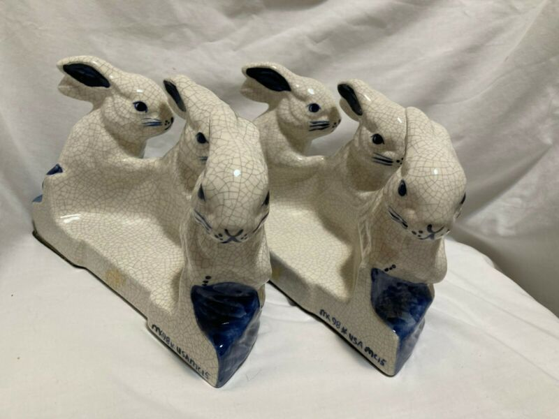 """Dedham Rabbit pottery blue crackleware bookends 2 pieces 1998 Signed 8.5"""" x 6"""""""