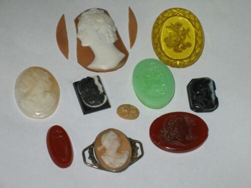 ANTIQUE SALVAGED LOT 10 JEWELRY STONES & CARVED CAMEOS VARIOUS COLORS SIZES