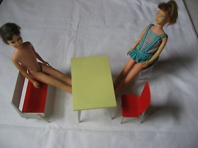 2 SKIPPER DOLLS 1963 &1967 WITH KITHEN TABLE, 2 CHAIRS AND A FOLDING BENCH