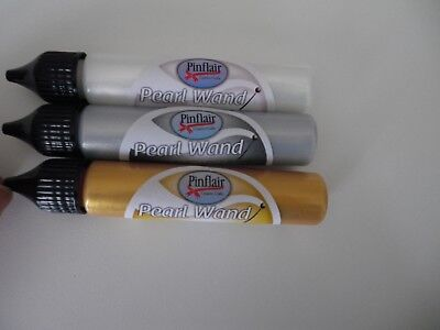 Pinflair Pearl Wands x 3 x 25ml Pearl, Gold, Silver New